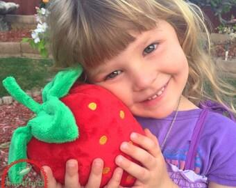 Strawberry Plush Toy - Giant Strawberry Softie Toy for Kids - XL Strawberry Plushie for Kids - Strawberry Lovers