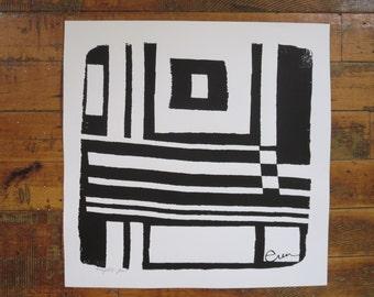 Black Bold Geo Silk Screened Art Print on white Paper