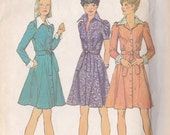 Misses  Dress Pattern - Gored Skirt ~ Shirt  Collar - Simplicity Number 6554 Size 16 - Simple To Sew - Cut But Complete