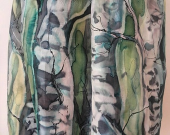 Birch trees silk scarf. Gift for nature lover. Wearable art painted on pure silk in wax batik by SinginvScarves. Made to order.