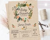 Baby Shower Invitation, Floral Wreath Baby Shower Invite, Baby Shower Invite, Vintage Baby Shower Invite, Gender Neutral, jadorepaperie
