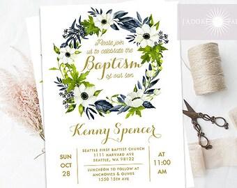 LDS Baptism Invite, Anemone Wreath Invite, Wreath Invitation, Printable Baptism Invitation, Green Blue, Elegant Invitation, jadorepaperie