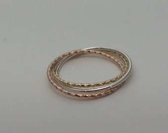 Triple band rolling ring, glitter rings, rose gold ring, thin bands, mix of 14kt rose, 10kt yellow, and argentium silver