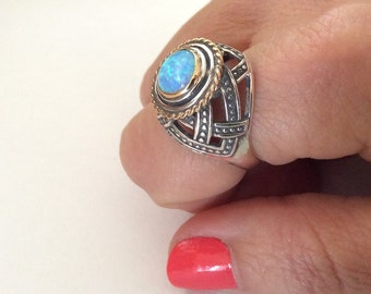 Opal silver gold ring, sterling silver ring, oxidised ring, blue stone ring, high ring, bohemian look, statement ring - Precious love R2176