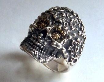Frida Kahlo Skull Ring, unisex skull ring, two tone skull ring, skull ring, silver skull ring, floral skull ring -  Everlasting Love R2221