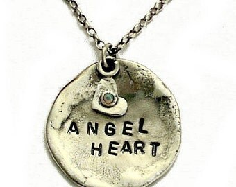 Sterling Silver Pendant, promise necklace with a heart charm, personalized necklace, hand stamped necklace - VALENTINES - Angel heart N4484