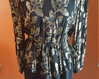 Vintage Black and Gold 1980's Dress by Patra