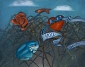 Original surreal framed oil painting 25x21: Detritus (frog, heart, love, fortune telling fish, rose, briars)