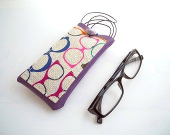 Colored eyeglass case with neck lanyard and pocket, hipster purple faux leather eyewear case, glasses holder