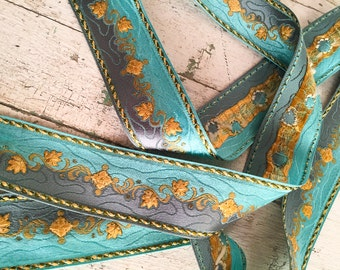 Vintage Blue Metallic Ribbon, Floral Satin Jacquard Ribbon Trim, 2 Yds, Craft Supplies, Sewing & Needlecraft Supplies, Trim Tapes