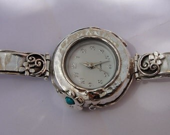 925 Silver Watch,  Original Handmade Fine Silver Turquoise Bracelet Watch (s w2943)