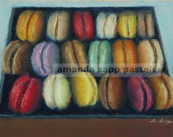 "Macarons archival print of original pastel painting 5"" x 7"""