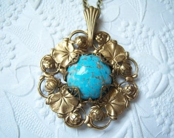 Antiqued brass Art Nouveau lily necklace with Czech glass turquoise  - VS553