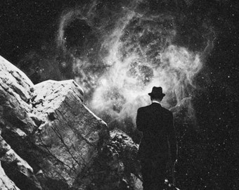 The Space Unknown Print. Vintage Surreal Collage Art. Black and White 8x10 print.