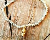 Silver Pyrite Gemstone Bracelet with Intricate Gold Vermeil Skull Charm