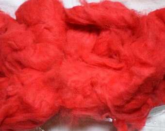 Tomato Red Angora Fiber Carded for Spinning