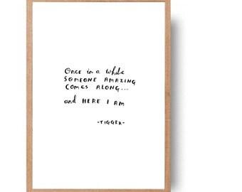 Winnie the pooh Tigger quote - hand written, hand drawn typography - original art (not print)//nursery//childs room//wall decor//room decor