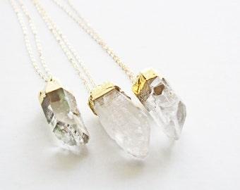 STELLA Gold Dipped Raw Quartz Crystal Layering Pendant on Long Chain