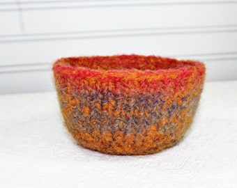 Small Orange and Gray Wool Felted Bowl, Knit Felt Storage Bowl, Felt Ring Bowl, Small  Wool Felt Bowl,  Knit Felted Wool Bowl, Red Felt Bowl