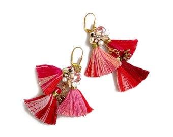 Red Tassel Statement Earrings, Boho Earrings, Tropical Parrot Earrings, Big Long Earring