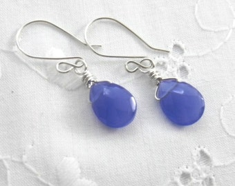 Blue Glass Teardrop Earrings Briolettes Denim Blue Womens Fashion Opaque Teardrop Earrings