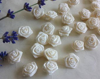New Item -- 25 Pieces of Hand Made Ribbon Roses in IVORY Color -- 18 - 15 mm