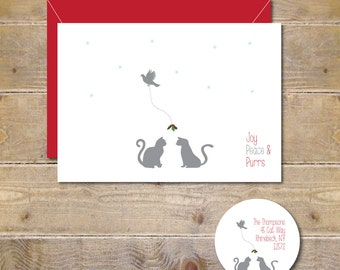 Christmas Cards, Cats, Mistletoe, Holiday Cards, Cat Christmas Cards,  Christmas Card Set,  Holiday Card Set, Christmas Dove