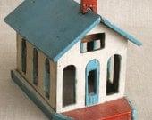 Miniature Church, Folk Art, Primitive, Wooden House, Handmade, Miniature Building, Antique Folk Art, Architectural,Miniatures, Church, Train