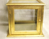 RESERVED - Display Case, Vintage Display Case, Glass Display Case, Gold Gilt, Display, Cases, Curio Case, Glass Box, Display Box, Cube