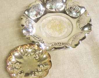 Vintage Silver Dish, Bowl, Perforated, Ring Dish, Small, Pair, Silver Plate, Monogrammed, Metal Dishes, Vanity, Dresser Tray