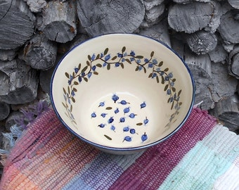 Blueberry handmade pottery bowl - large ceramic bowl - Rustic style bowl - ceramic serving bowl - pottery vegetable  bowl  - bb110409