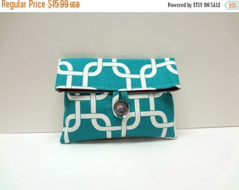 ON SALE Modern Turquoise Clutch in Chain Print