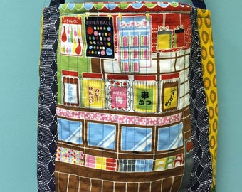 JAPANESE CANDY STORE quilted cross body crossbody tote bag handmade transfer Shweshwe