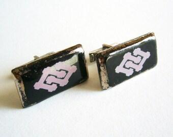 Vintage Large Geometric Statement Cufflink Set - Silver Tone Metal Posts - Purple Design Cufflinks - Japanese?