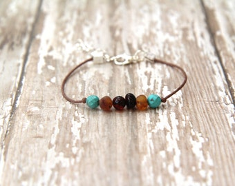 Baltic Amber & Turquoise Bracelet - gemstone - natural pain reliever - kids, teens, adults