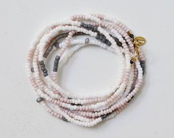 Long Seed Bead Necklace - Soft Pastel Pink, Gray and Opaque White Glass Czech and Japanese Seed Beads - 14K Gold Fill, Silk Cord, Handbeaded
