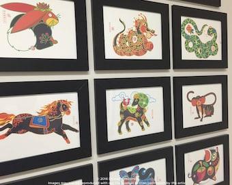 Dragon, Rabbit, Snake, Goat, Dog, Horse, Tiger, Pig, Monkey Print, Kids Room Art, Animals