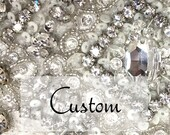 Custom for Kimberly, Crystal Wedding Sash with custom design