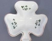 Vintage Irish Carrigaline Pottery Clover Souvenir Jewelry Dish