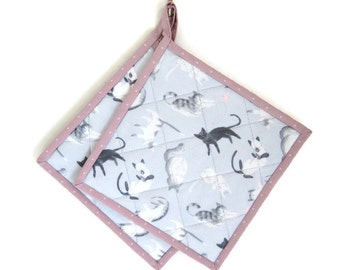"""Quilted Potholders """"Playful Cats"""" Set of 2 Fabric Hotpads, Quiltsy Handmade, Black and White Cats"""