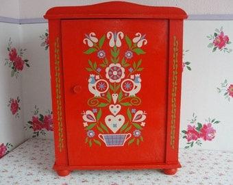 Red Wooden Cabinet - Scandinavian Design - Folk Art - Original Vintage - 1970s 1980s