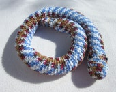 Snake Door Draft Stopper, Colorful Toy Snake, Crochet Blue, Browns, Red and White Snake, Window Draft Stopper by CrochetedbyCharlene