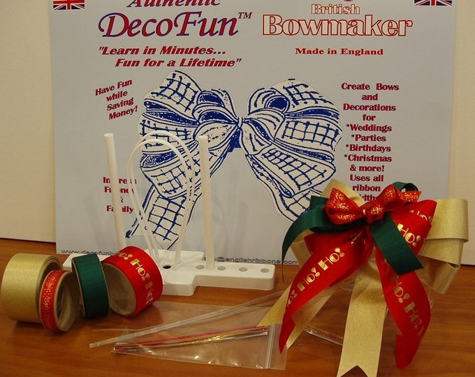 DecoFun Bow Maker Christmas HOLIDAY RIBBON Starter Kit: DIY bows for decorations, gift wrap, food gifts, wreaths, party favors, scrapbooking