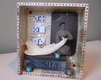 3D collage, mixed media assemblage, shadow box, art