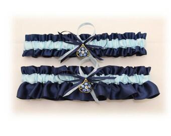 Satin Navy Blue and Light Blue Wedding Garter Set with Blue Rhinestone Deco