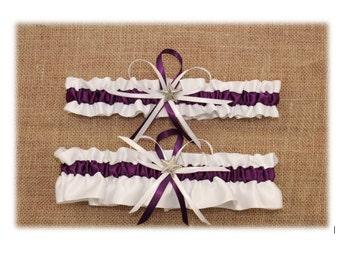 White and Eggplant Wedding Garter Set, Bridal Garter, Prom Garter  (Your Choice, Single or Set)