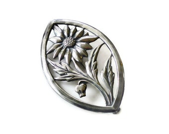 Sterling Brooch, Sunflower Floral, Stylized Flower, Silver Pin, Vintage Jewelry