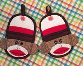 Sock Monkey Doll Finger Tip Oven Mitt, Oven Mitt, Pot Holders, Hot Pad