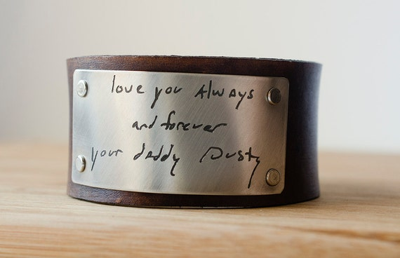 Your Custom Handwriting on Distressed Leather Cuff