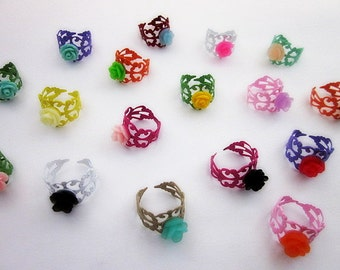 Jewelry Party Favors -- Adjustable Ring Variety Pack -- Party Favor Rings -- Colorful Party Favors -- Flower Rings -- Ring Multi Pack